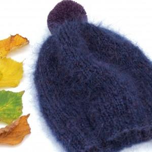 Granatowa, moherowa czapka
