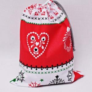 Worek na prezenty worek świąteczny, worek prezentowy, opakowanie na prezent sweterek czerwony rozm M