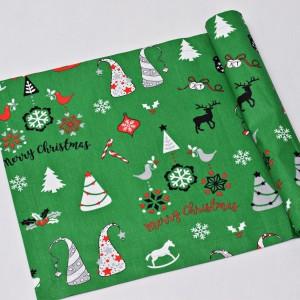 Bieżnik świąteczny, serweta na świąteczny stół, bieżnik bawełniany na święta zielony