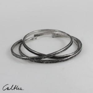 Nieregularne - komplet 3 srebrnych bransoletek 190811-08