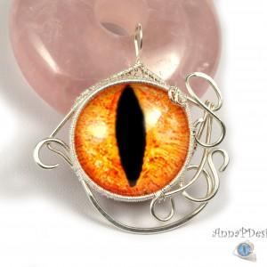 Srebrny wisior ze szklanym kaboszonem smocze oko, pomarańczowe, prezent dla niej, prezent dla niego, unisex, prezent pod choinkę,