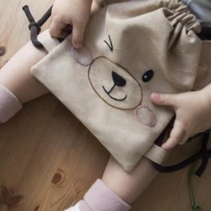 Mini plecak beżowy miś