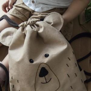 Plecak worek dziecięcy beżowy miś