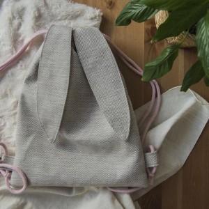 Plecak królik w jodełkę ecru
