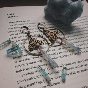 Kolczyki antyczny brąz z błękitnym barytem