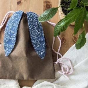 Brązowy plecak królik z haftem