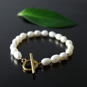 Złota bransoletka z pereł naturalnych