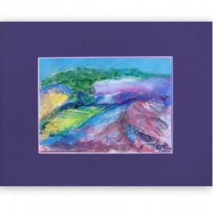 skanynawski obraz, góry akwarela, ręcznie malowany pejzaż górski, mała akwarela z górami