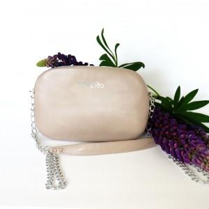 Skórzana torebka-bransoletka beżowa