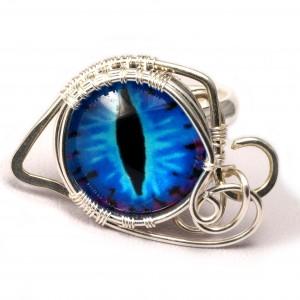 Smocze oko, srebrny pierścionek ręcznie wykonany, prezent dla niej, prezent dla mamy, prezent urodzinowy, niepowtarzalna biżuteria autorska,