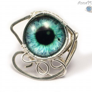 Turkusowe oko, srebrny pierścionek ręcznie wykonany, prezent dla niej, prezent dla mamy, prezent urodzinowy, niepowtarzalna biżuteria autorska,