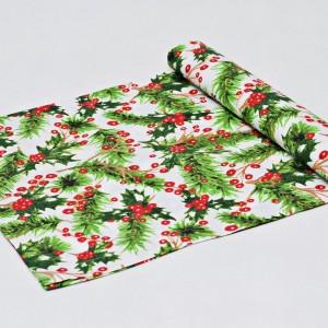 Bieżnik świąteczny, serweta na świąteczny stół, bieżnik bawełniany na święta ostrokrzew