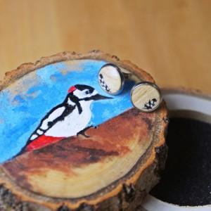 Malowane drewniane kolczyki w ręcznie malowanym pudełku