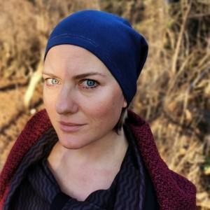 czapka damska granatowa bez podszewki