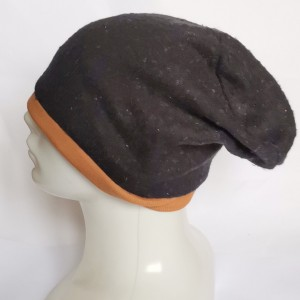 czapka damska czarna melanż z brązem miodowym