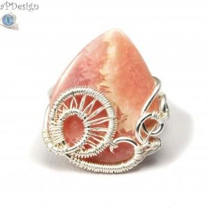 Rodohrozit, srebrny pierścionek z rodohrozitem ręcznie wykonany, prezent dla niej, prezent dla mamy prezent urodzinowy, biżuteria autorska