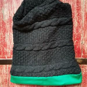 czapka damska wełniana szara z zielonym