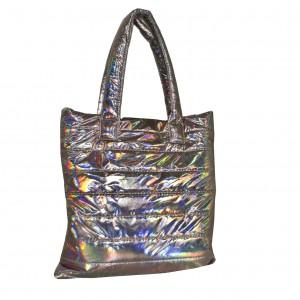 Metaliczna torba pikowana na ramię