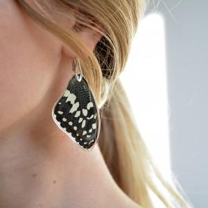 Srebrne kolczyki ze skrzydeł motyla. Skrzydła tropikalnego motyla. Biżuteria ze skrzydeł motyla
