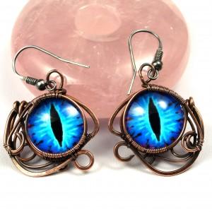 Niebieskie Smocze oko, ręcznie robione miedziane kolczyki, prezent dla niej, prezent dla mamy, prezent urodzinowy, biżuteria autorska