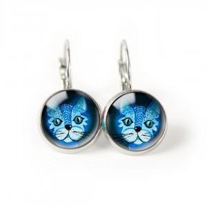 Blue cat kolczyki