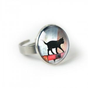 Black cat pierścionek