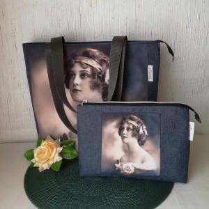 Torebka damska shopper bag na ramię wodoodporna handmade - kobieta z różą + kosmetyczka