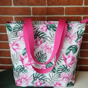 Torebka damska wodoodporna shopper bag na ramię torebka do ręki torebka na zakupy handmade różowe kwiaty