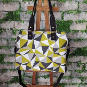 Torebka damska wodoodporna torebka na ramię torebka do ręki  handmade geometryczne wzory limonka