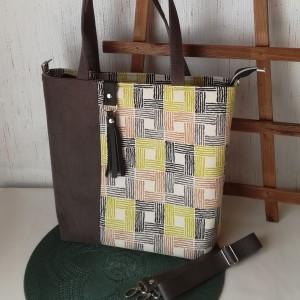 Torebka damska wodoodporna shopper bag na ramię  z chwostem kwadraty