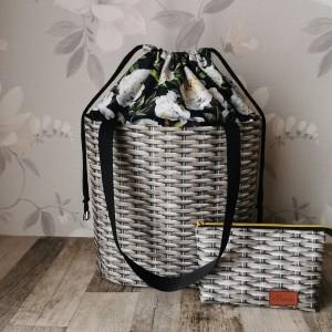 Torebka shopper bag z kominem białe piwonie  + kosmetyczka