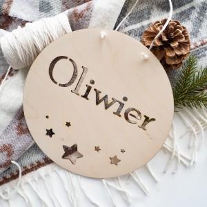 Drewniana tabliczka z imieniem - gwiazdki
