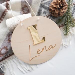 Drewniana tabliczka - złota litera