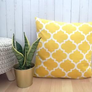Poszewka bawełniana, żółte maroko,45x45cm.