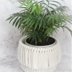 Koszyk BOHO ze sznurka bawełnianego ,naturalny,L.