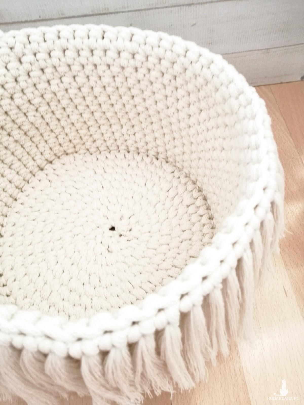 Koszyk BOHO ,15x13cm,ze sznurka ,naturalny,