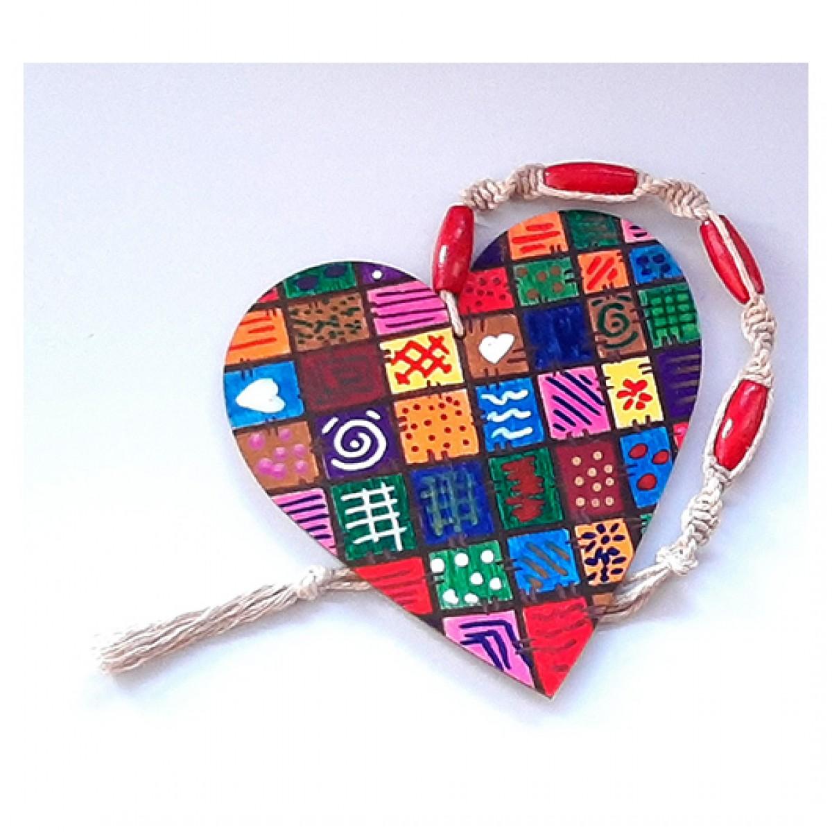 4604 kolorowe serce ręcznie malowane