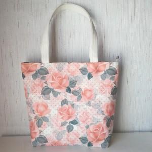 Torebka  shopper na ramię  ekoskóra - łososiowe róże