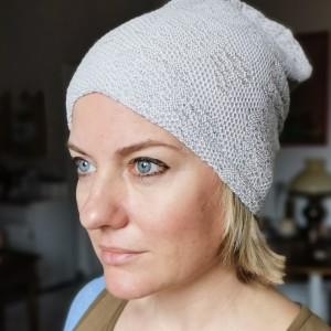 czapka damska szara azurowa