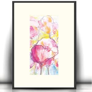 oryginalny  rysunek z kotem, kot obraz na ścianę, kolorowa grafika z kotem