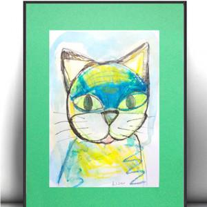 obraz z kotkiem, kolorowa grafika z kotkiem, kotek rysunek na ścianę