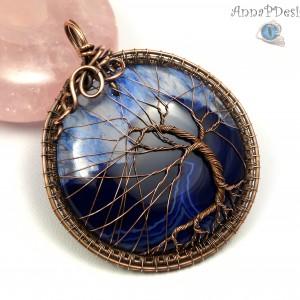 Drzewko szczęścia, Miedziany wisior z Agatem, ręcznie wykonany, prezent dla niej, prezent dla mamy, prezent urodzinowy, biżuteria autorska