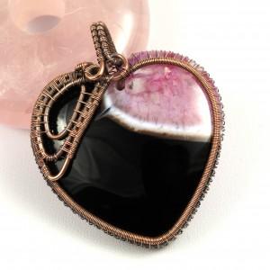 Agat, Miedziany wisior z agatem, ręcznie wykonany, prezent dla niej, prezent dla mamy, prezent urodzinowy, niepowtarzalna biżuteria, serce