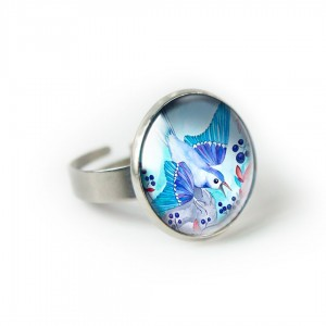 Bluebery bird pierścionek