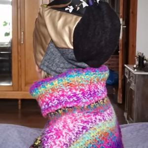 czapka dzianina na podszewce patchwork