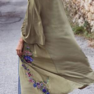 tunika zielona haftowana długa