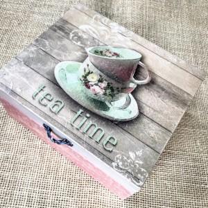 039,Pudełko na herbatę z filiżanką tea time