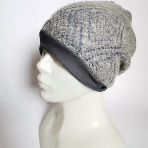 czapka damska szara z niebieskim azurowa