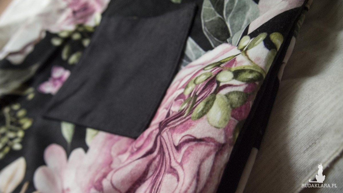 Czarna torba Double w kwiaty