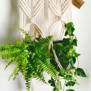 Kwietnik wiszÄ…cy ze sznurka 2 kwiaty doniczki ECRU